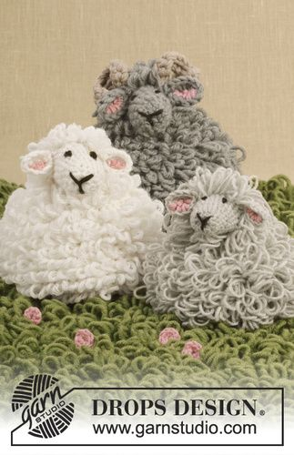 Free pattern, 0-948, Crochet lamb with loop sts in Baby Merino