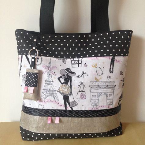 """Tote-bag sac ou cabas rétro chic """"la parisienne"""" N°6 en lin lamé argenté et tissu noir à pois : Sacs à main par nymeria-creation"""