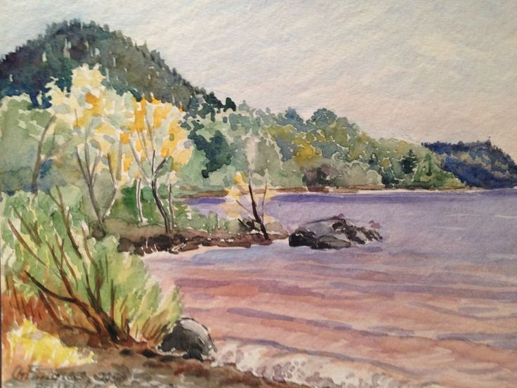 Original Watercolor - Signed by C. Finance California Artist - Belle Isle 1950