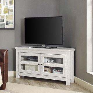 44-inch White Wash Wood Corner TV Stand - Free Shipping Today - Overstock.com - 19344104 - Mobile