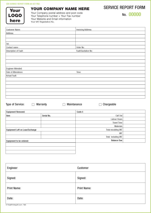 Free service report forms templates service report sets ...