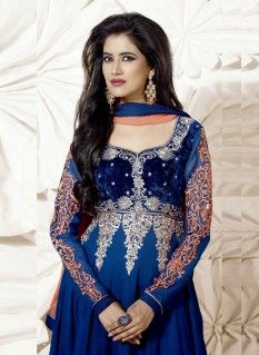 Beautiful blue embroidered resham work georgette anarkali suit with resham and border work.pair with mathcing bottom and dupatta.