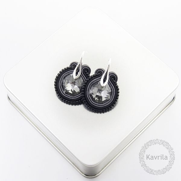 Little dark silver soutache - kolczyki wieczorowe sutasz KAVRILA #sutasz #kolczyki #wieczorowe #rękodzieło #soutache #handmade #earrings #night #black #darksilver #kavrila