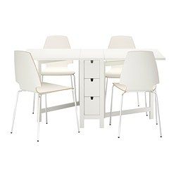 IKEA - NORDEN / VILMAR, Table and 4 chairs, Table with drop-leaves seats 2-4; makes it possible to adjust the table size according to need.You can store flatware, napkins and candles in the 6 drawers under the table top.The chair's melamine surface makes it durable and easy to keep clean.You can stack the chairs, so they take less space when you're not using them.