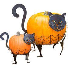 2 Piece Cat Pumpkin Holder Set