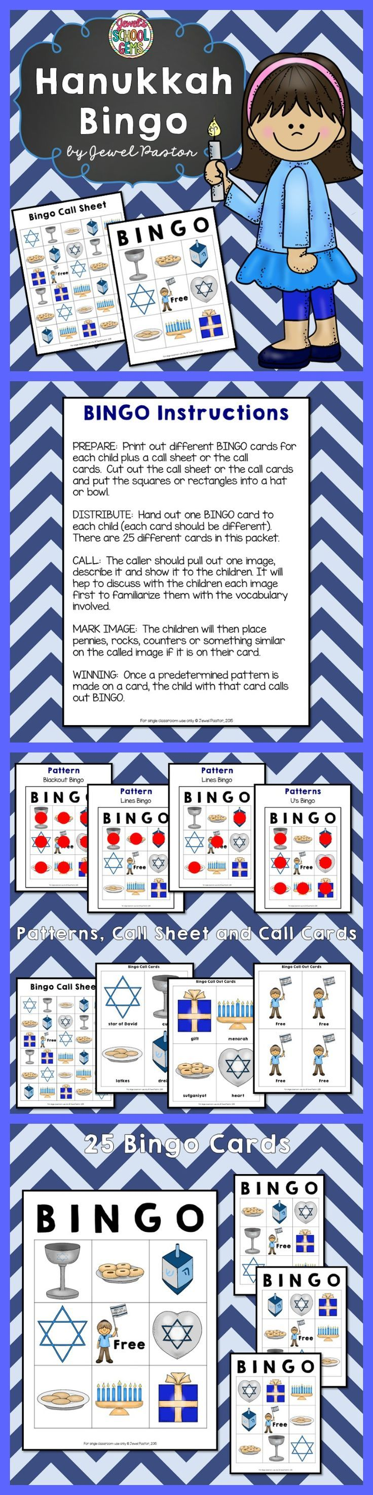 Hanukkah : Hanukkah Bingo Packet  HANUKKAH BINGO   In search of fun Hanukkah activities? Engage your students this Hanukkah Holiday with this fun Hanukkah Bingo! This packet contains instructions, patterns, bingo cards, a call sheet and call cards. See the Preview to have an idea of what is inside this Hanukkah packet.