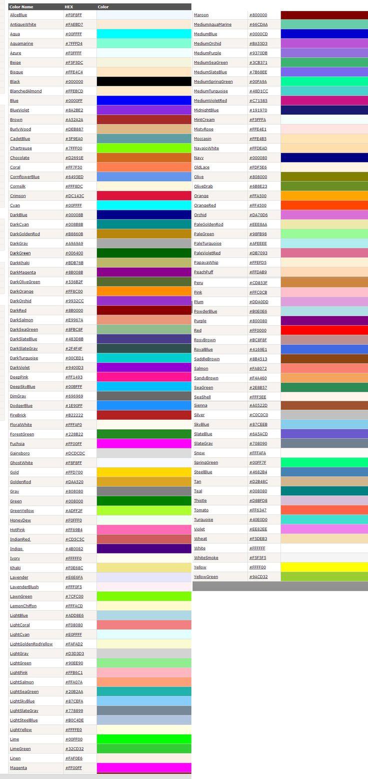 Colores hexadecimales con sus nombres