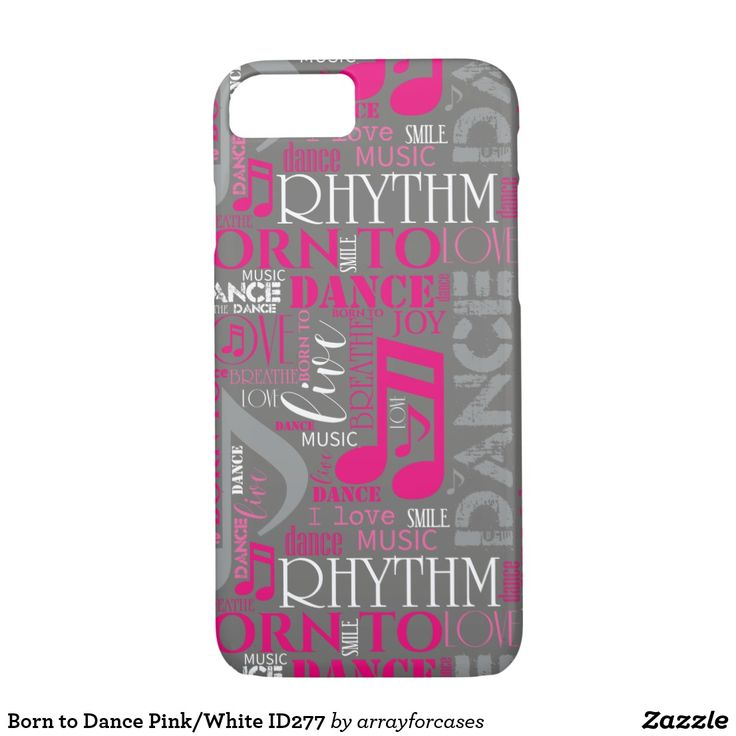 Born to Dance Pink/White   iPhone 7/8 Case Is dancing your passion? This cool case with a word cloud design says it all. Some of the words, interspersed with musical notes, are: breathe, live, love, dance, rhythm and born to dance. This version features shades of pink, gray and white for any darker background color of your choice. Search ID277 to see additional color options and matching products with this design.