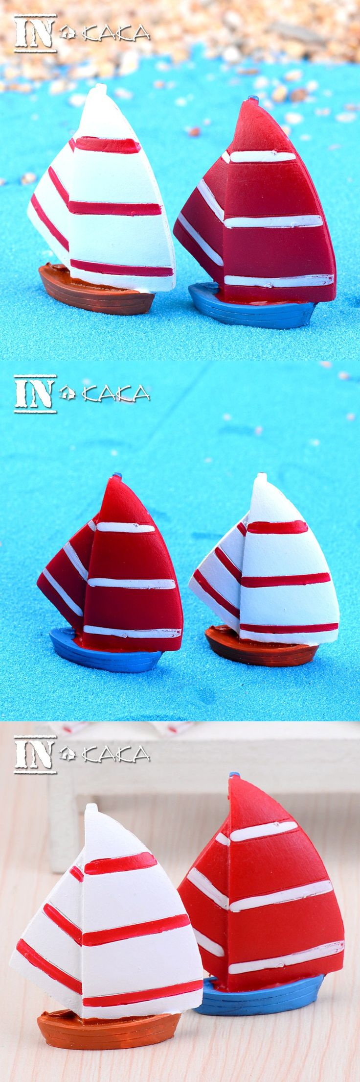 Mediterranean Home micro garden Decoration figurines resin crafts Sailboat boats model Toys aquariums/terrarium DIY accessories $1.48