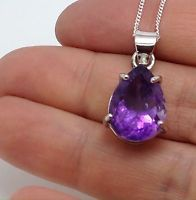 Amethyst Pear pendant solid Sterling Silver, New, Chain, Actual One. Gift Box.