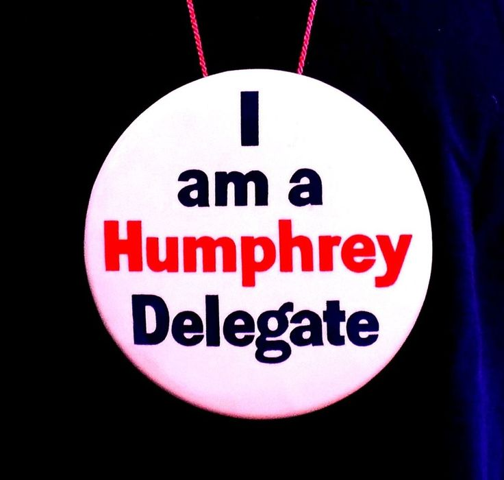 "Vtg 1968 Democratic Convention Hubert H. Humphrey 6"" Delegate's Button"