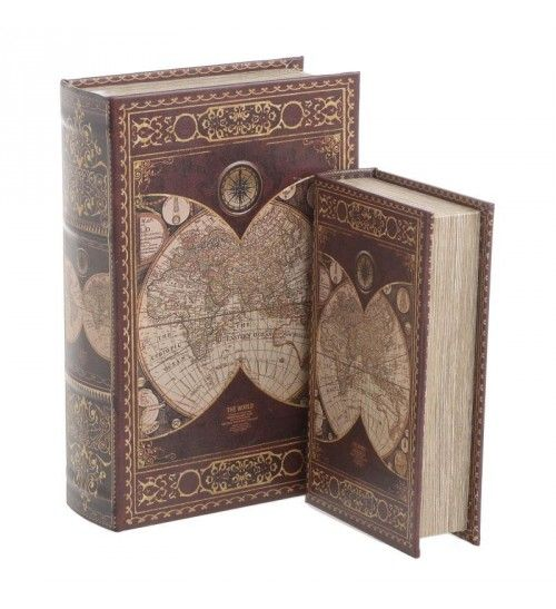 S_2 WOODEN BOX_BOOK 'ATLAS' BURGUNDY_CREME 18X7X27