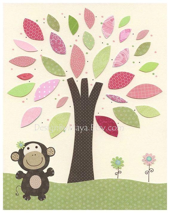 Girl Monkey Nursery Wall Decor : Images about nursery art and decor on