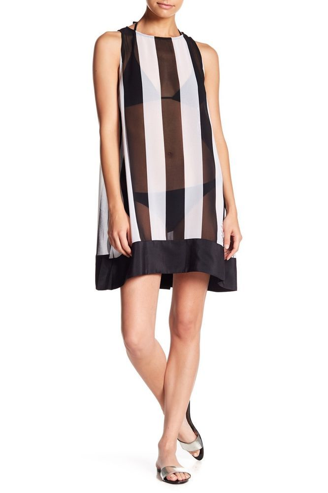 c7c6093690 TED BAKER LONDON Monochrome Striped Swimsuit Cover Up- Black White-NWT SZ S