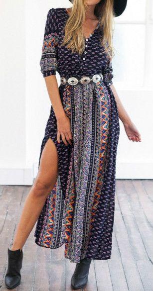 New Fashion Women Half Sleeve Print Casual Party Maxi Long Dress