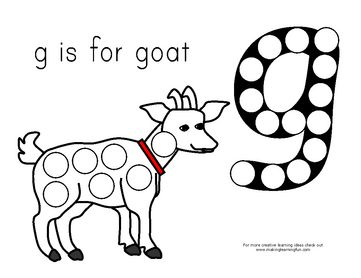 g is for goat magnet page