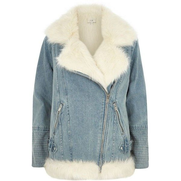 River Island Light blue faux fur denim aviator jacket ($190) ❤ liked on Polyvore featuring outerwear, jackets, blue, coats / jackets, women, aviator jacket, tall denim jacket, lined denim jacket, light blue jacket and long sleeve jacket