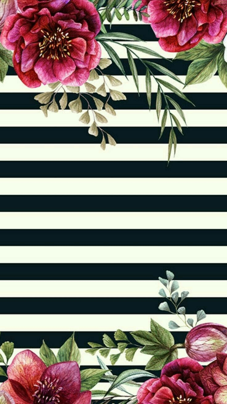 Roses and black and white stripes wallpaper print art