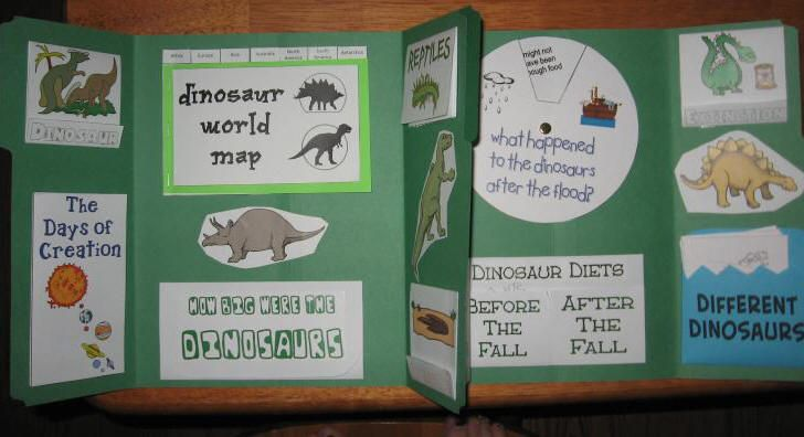 Free Creation-based Dinosaur Lapbook - Homeschool Share (good for doing at the beginning of studying ancient history)
