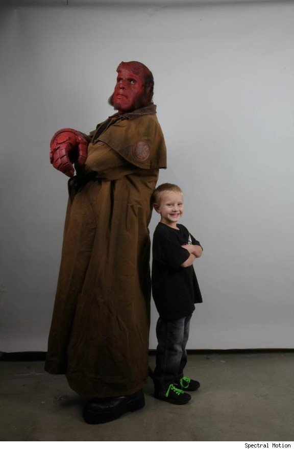 Demonstrating exquisite taste well beyond his years, a young Hellboy fan called Zachary asked the Make-a-Wish Foundation to help him realize his dream of meeting Mike Mignola's infernal investigator of the paranormal. Make-a-Wish, which serves children with life-threatening illnesses, hooked up with effects house Spectral Motion, who worked with actor Ron Perlman to reprise his makeup-heavy role from Guillermo del Toro's two Hellboy films and give Zach an introduction he'll never forget.