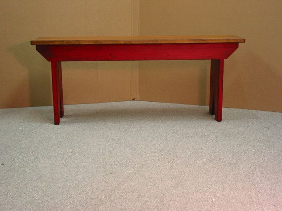 Red Bench / Cabin bench / Entryway Bench / by HarvestTreasuresInc