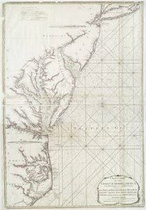 A new chart of the coast of North America : from New York to Cape Hatteras, including the bays of Delaware and Chesapeak... (12th May, 1794)Capes Hatteras, North America, Nautical Charts, The Bays, Cape Hatteras, New York, Colonial Stories