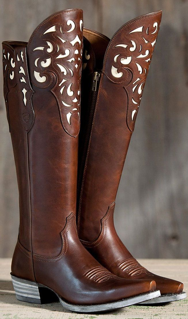 Ariat Hacienda Leather Boots ❤︎ The only thing I don't like is how pointy the toes are....