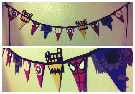 DIY Superhero bunting banner.