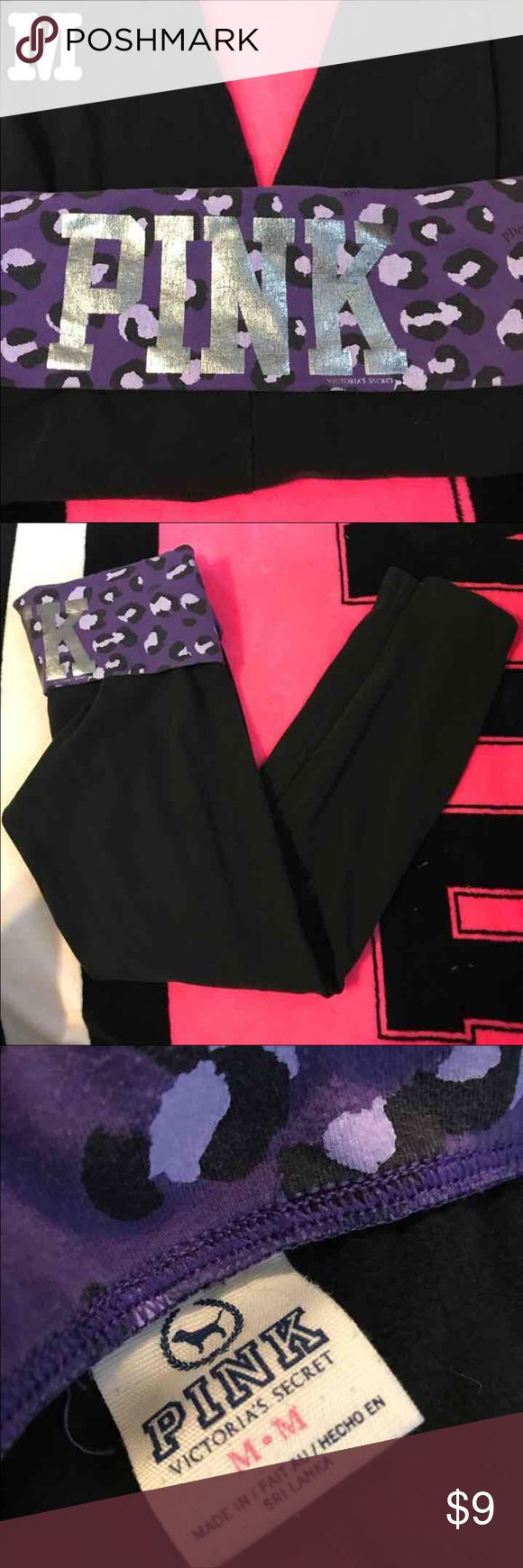 (M) VS PINK Yoga Pant (M) Victoria's Secret PINK Yoga Pant Size: Medium Color: Black, Purple skinny.  I try to make the descriptions as accurate as possible.   Make sure to ask questions you may have of the item BEFORE purchasing!  My prices are chosen by the condition they are in and what I think is a reasonable price that I would purchase if I were to buy them for me.  (650)9.1 PINK Victoria's Secret Pants