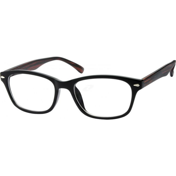 A stylish full-rim plastic frame. With wood imitation temples and shiny silver ornament design in the front. ...Price - $12.95