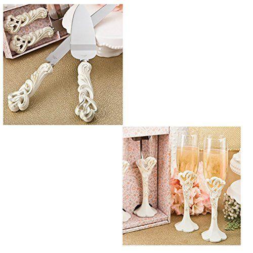 Fashioncraft Vintage Double Heart Design Wedding Cake Knife And Server Set with Toasting Glass Flute Set, Ivory