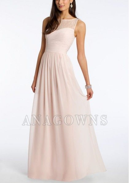 This sleeveless dress will be perfect for the girls that will be by your side all day long! This floor-length dress is complete with a lace illusion neckline, crisscross pleated bodice, chiffon skirt and a center back zipper - 1660541 - Bridesmaid Dresses