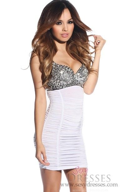 White Ruched Party Dress with Silver Sequins and Beaded ...