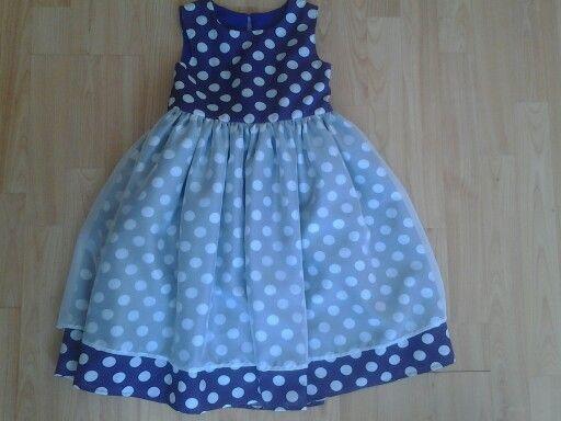 Polkadot Party Dress Overlaid with Chiffon.