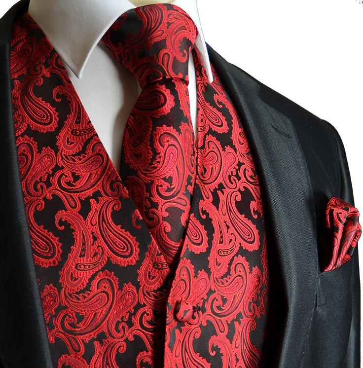 Red & Black Tuxedo Vest Set(Q20-K)