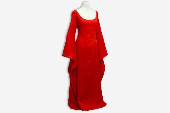 Medieval dress red priestess, Game of Thrones, renfair, cosplay, wedding dress, bridesmaids dress, handfasting, celtic wedding, handmade