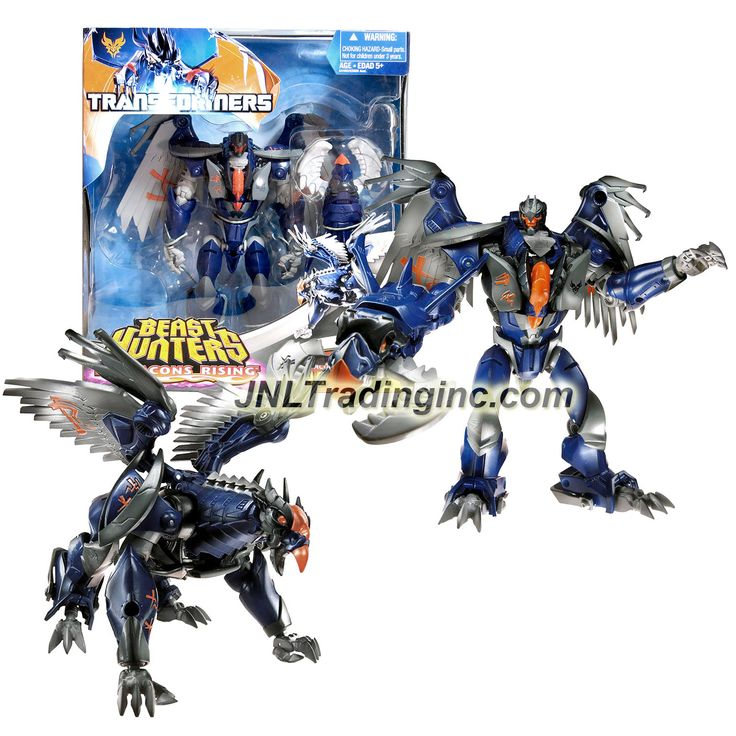 "Hasbro Transformers Beast Hunters Predacon Rising Series Voyager Class 7"" Tall Figure - DARKSTEEL with Eagle-Head Grapple Launcher (Beast: Griffin)"