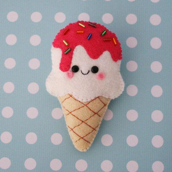 Vanilla Ice Cream Felt Brooch on Etsy, $15.00