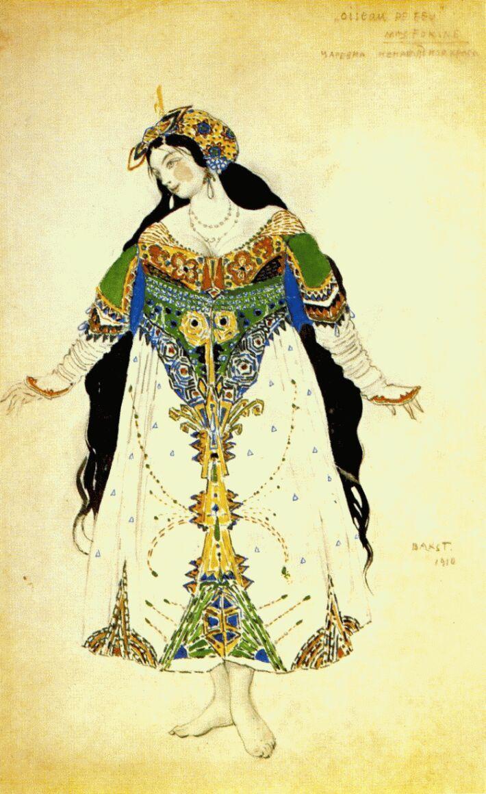 """The Tsarevna"",costume sketch for Igor Stravinski's ballet The Firebird,1910 - watercolor, crayon and gold on paper by Leon Bakst."