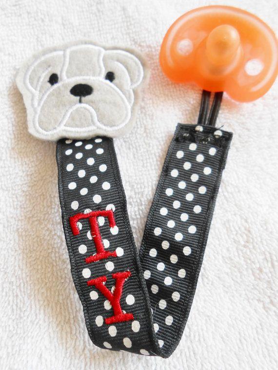 Georgia Bulldog Pacifier Clip on Etsy, $7.50