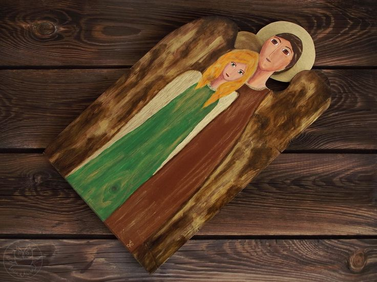 Two angels on wood, unique gift for him & her