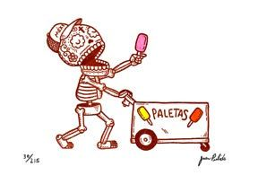 this reminds me of summer in Chicago... hearing the bells from the paletas truck and getting a coconut flavored one was a great time.    by MisNopalesArt, on etsy