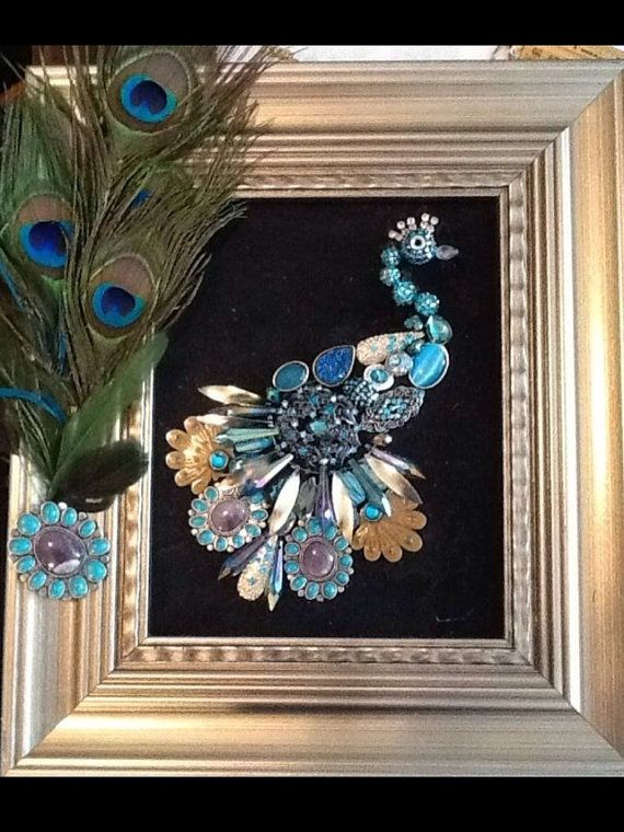 Jewelry art peacock framed by memamashops on Etsy, $55.00