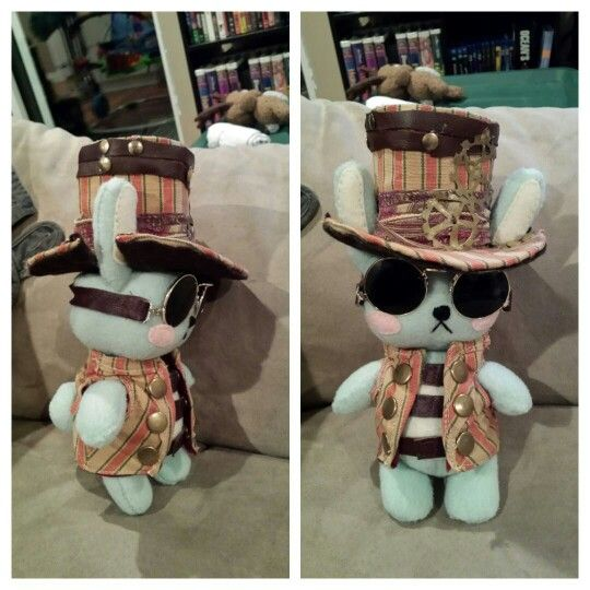 Steampunk bunny stuffie! He kinda looks like Slash haha. I made it for my brother for Christmas.