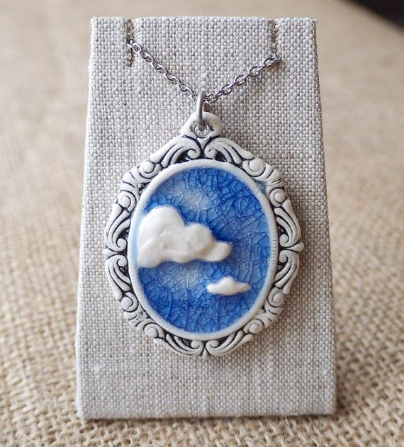 Cloud 9 Porcelain Pendant Blue Sky Cameo Mrs by MrsPetersonPottery, $49.00