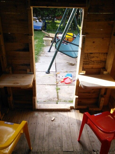 Folding tables in the girls playhouse