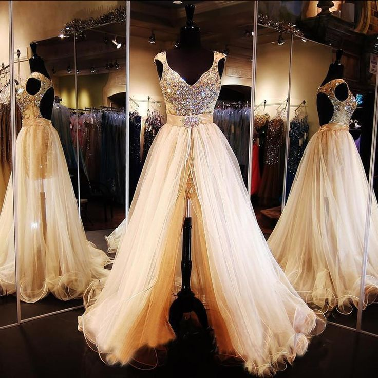 2016 Cheap Bling New Two Pieces Prom Dresses V Neck Crystal Beading Keyhole Back Detachable Skirts Formal Party Dress Evening Gowns Online with $179.06/Piece on Haiyan4419's Store | DHgate.com