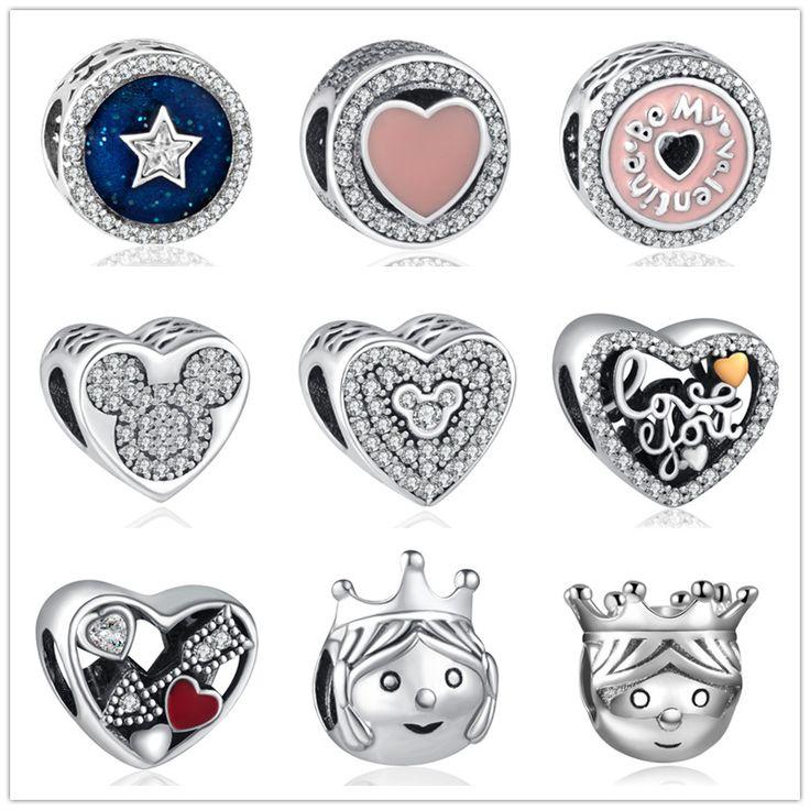2017 new Silver European CZ Charm Beads Fit pandora Style Bracelet Pendant Necklace DIY Jewelry Originals