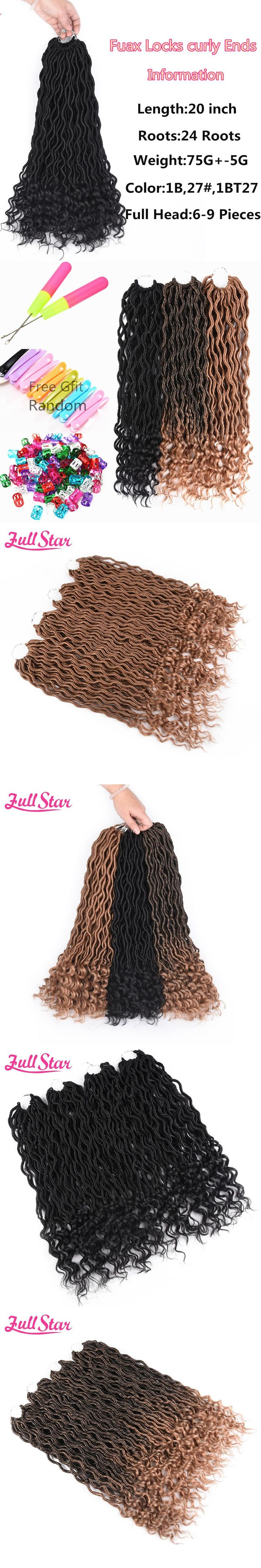 Full Star 20 inch Faux Locs Curly Crochet Hair 24 Strands Synthetic Crotchet Braids Hair Extensions for Black Women 1-6pack/lot