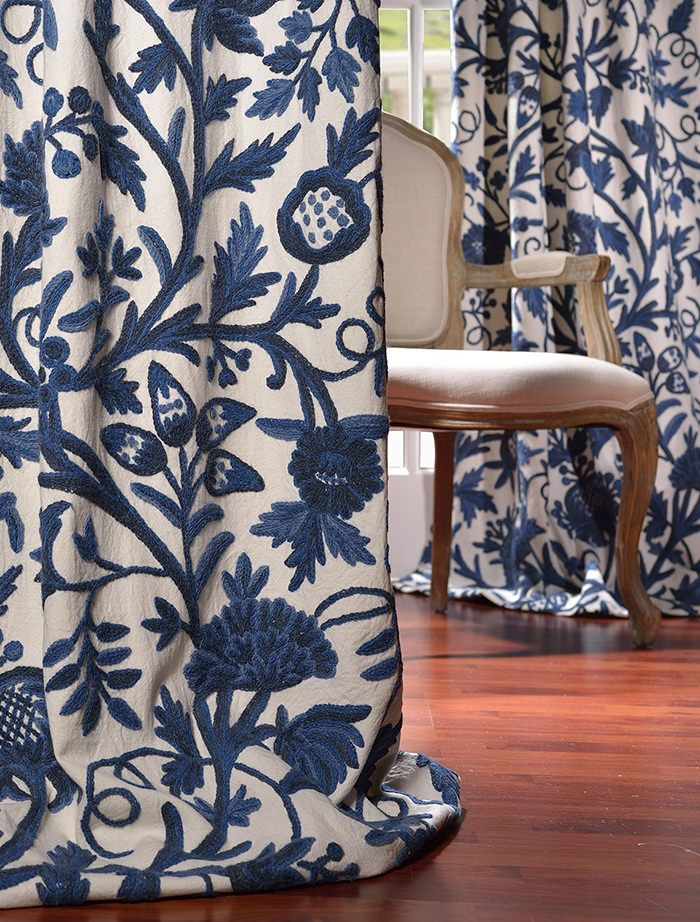 CHEAP. MAYBE WORTH CHECKING OUT - HALF PRICE DRAPES. Norway Embroidered Cotton Crewel Curtain & Drapes